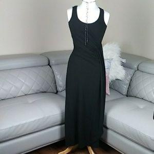 Ann Taylor Cascade Black  Maxi Dress SP